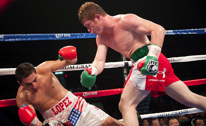 Saul Alvarez Vs Josesito Lopez Fight Video on victor ortz